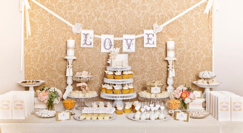 White and Beige Sweet Table