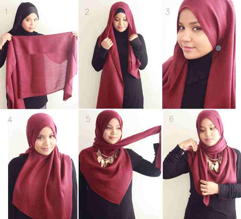 Hijab Tutorial with Necklace Aishah Amin