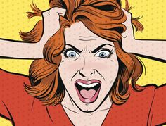 Crazy woman pop art